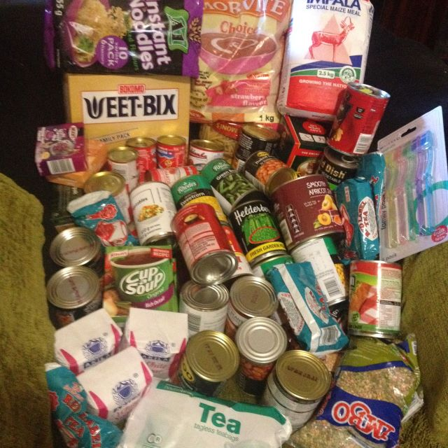 box filled with non perishable groceries